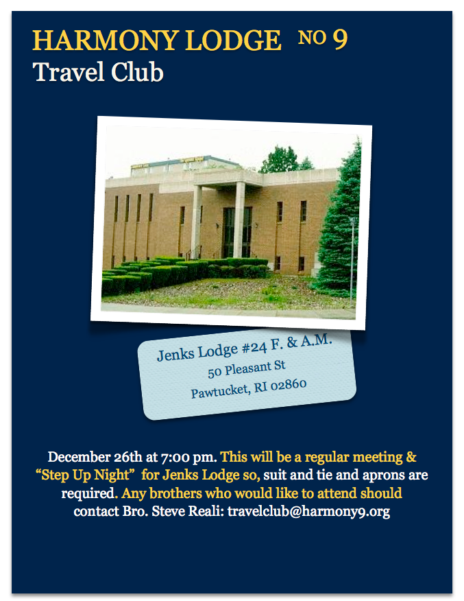 Harmony's Travel Club – Jenks Lodge #24