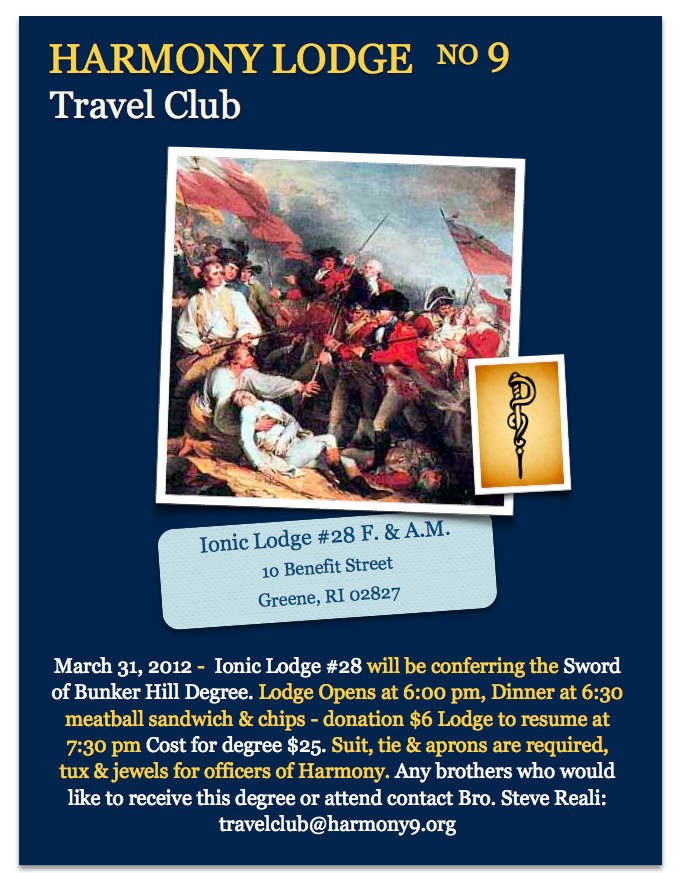 Harmony's Travel Club -Ionic Lodge #28 -The Sword of Bunker Hill Degree