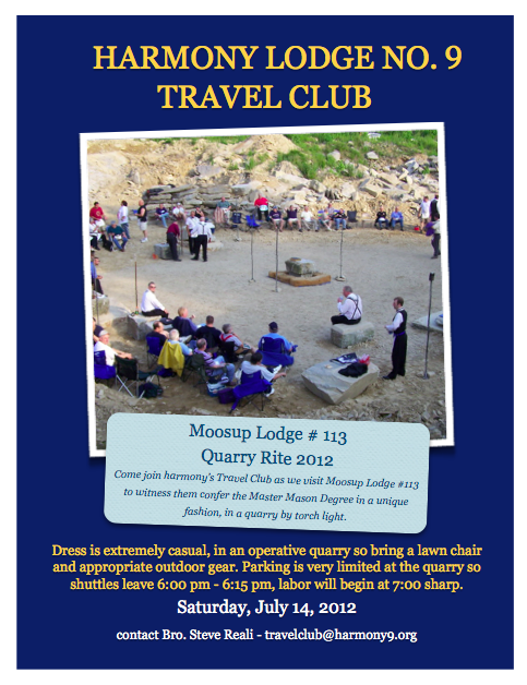 Harmony Lodge #9 -Travel Club visit to Moosup Lodge #113 for Quarry Degree