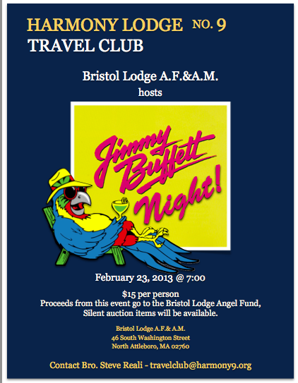 Harmony's Travel Club – Bristol Lodge A.F.& A.M. hosts Jimmy Buffett Night – Saturday, February 23rd @ 7:00 pm
