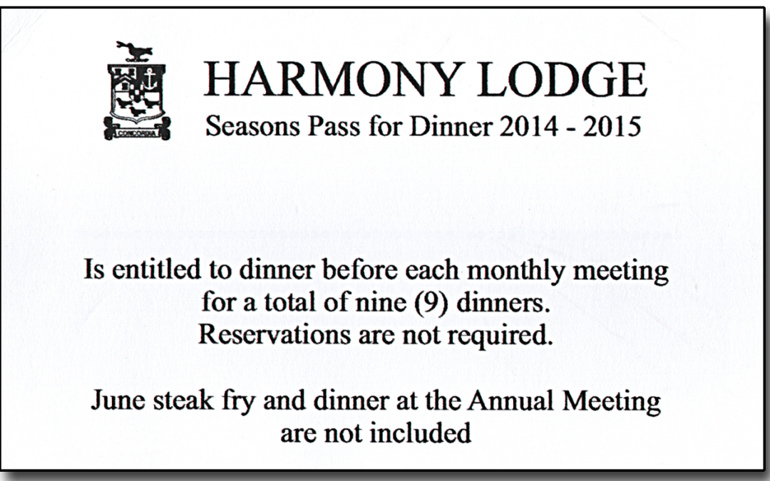 Season Pass for Dinners  2014 – 2015