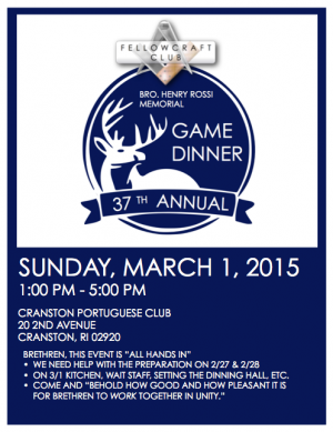 Game Dinner Flyer 2015 image