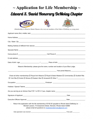 Honorary Demolay Application image