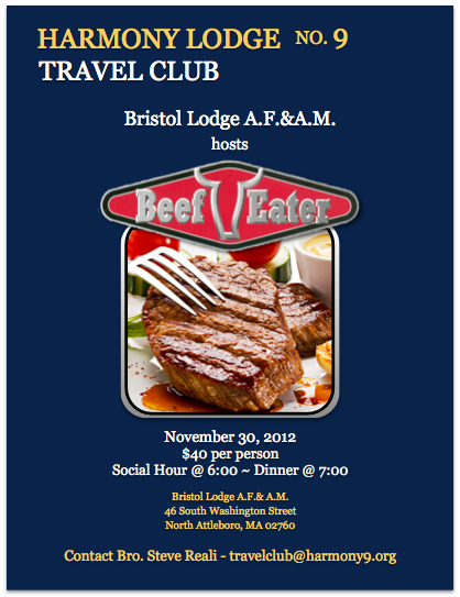Harmony's Travel Club – Bristol Lodge A.F.&A.M. hosts Beef Eater Event – November 30, 2012
