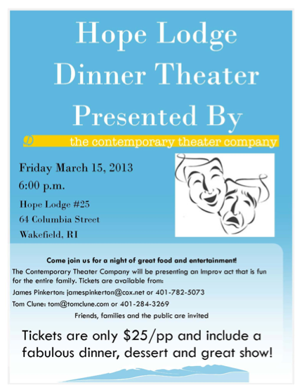 Harmony's Travel Club – Hope Lodge Dinner Theater – Friday, March 15th @ 6:00 pm