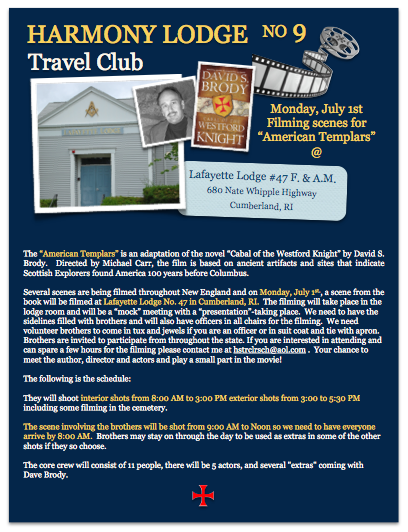 "Travel Club  – Filming scenes for ""American Templar"" Monday, July 1st @ Lafayette Lodge #47"